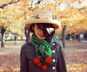 autumn, cherries, and scarf image