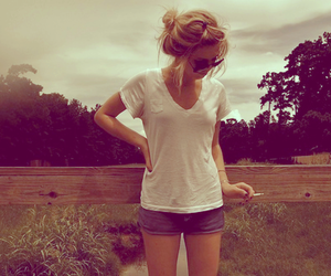 girl, blonde, and cigarette image