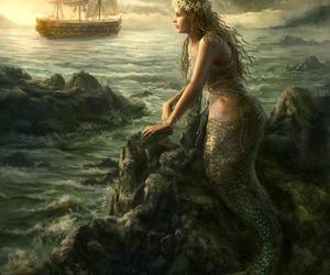 mermaid, art, and ship image