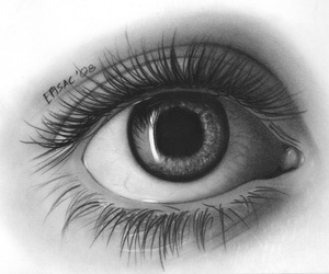 eye, drawing, and black and white image