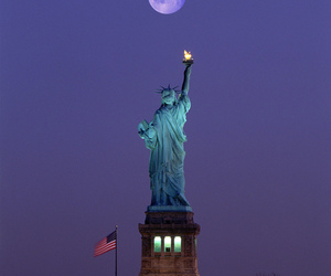 new york, moon, and usa image