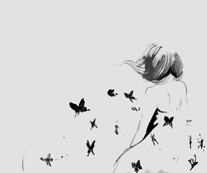 anime, girl, and butterfly image