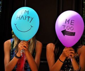 happy, friends, and balloons image
