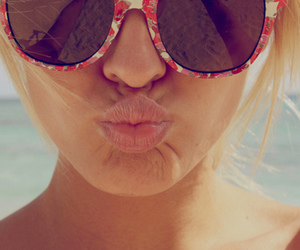 girl, mouth, and sunglasses image