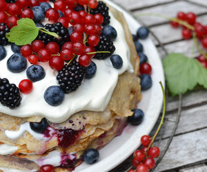 pancakes, berries, and sweet image