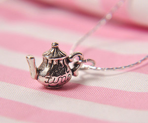 necklace, tea, and pink image