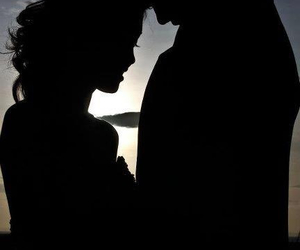 boy, girl, and silhouette image