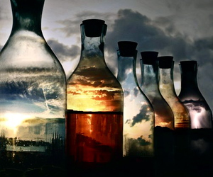 bottle, sky, and clouds image