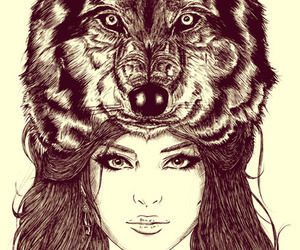 drawing, girl, and wolf image