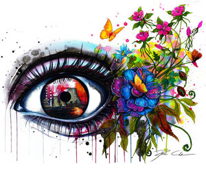 eye, art, and flowers image
