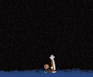 calvin and hobbes, stars, and calvin image