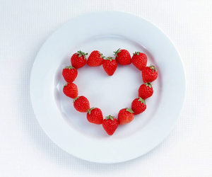 strawberry, heart, and love image