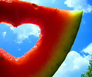 clouds, heart, and watermelon image