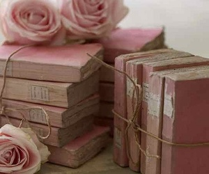 book, rose, and pink image