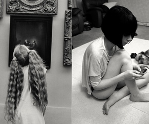 black and white, vintage, and hair image
