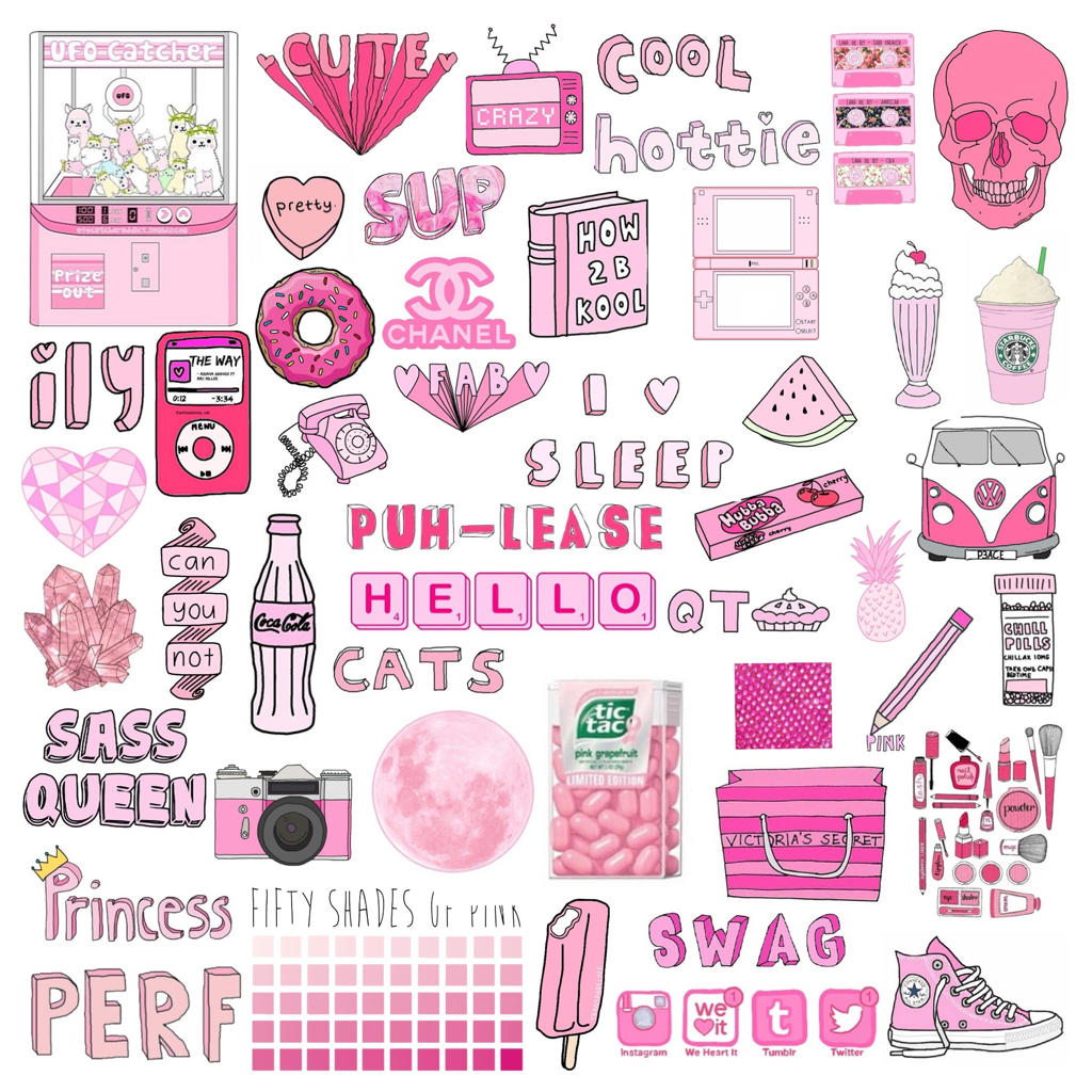 💗Made this collage of all pink pictures💗 on We Heart It for Cute Stickers Tumblr Hd  75tgx