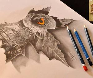owl, drawing, and art image