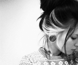 girl, Plugs, and black and white image
