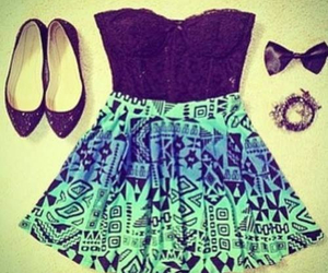 black and blue, outfits, and bows image