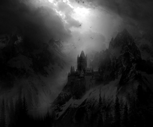 black and white, snowy, and dark castle image