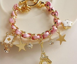bracelet, pink, and paris image