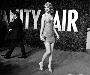 Taylor Swift, black and white, and Vanity Fair image
