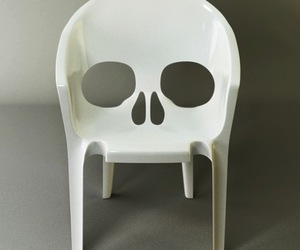 skull, chair, and skull chair image