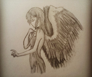 angel, drawed, and drawing image