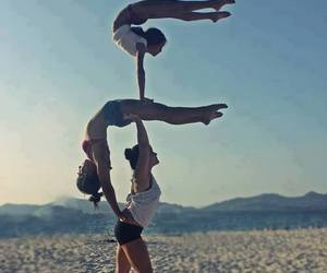 beach, friends, and yoga image