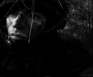 b&w, soldier, and miscellaneous image