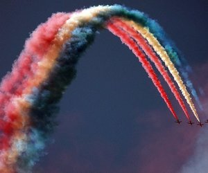 rainbow, sky, and airplane image