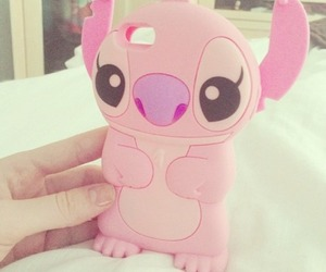 pink, stitch, and iphone image