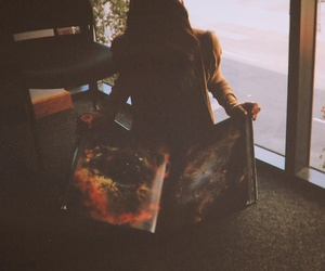 book, girl, and galaxy image