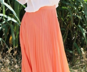 skirt, coral, and long image