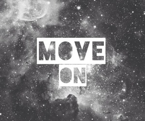 move on, black and white, and stars image