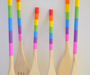 painted wooden utensils, rainbow kitchenware, and painted kitchen utensils image