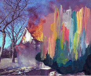 art, fire, and house image