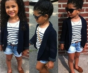 black and white, little girl, and stripes image