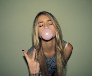 girl, peace, and bubblegum image