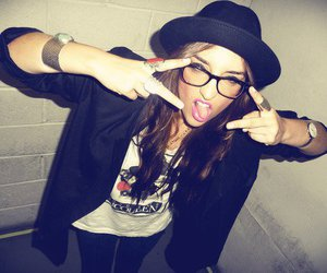 girl, glasses, and hat image