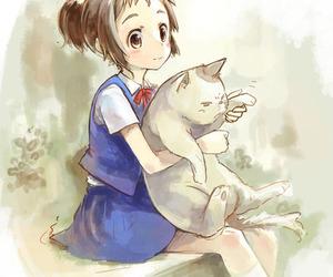 anime girl, kawaii, and cat image