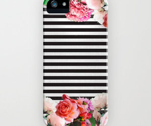 black and white, case, and floral image