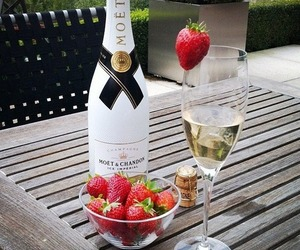 strawberry, champagne, and moet image