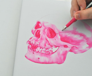 pink, skull, and drawing image