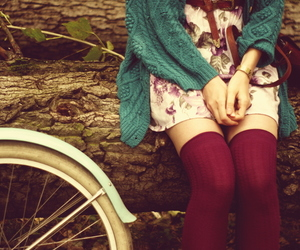 girl, bicycle, and vintage image