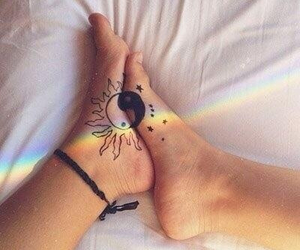 bed, rainbow, and sheets image