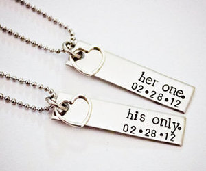 love, necklace, and couple image
