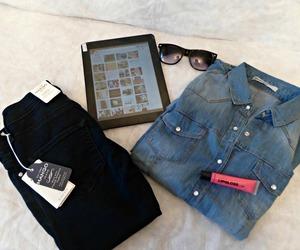apple, denim, and fashion image