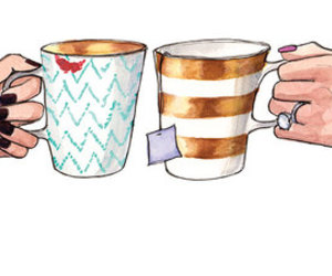 tea, drawing, and coffee image