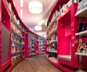 books, design, and pink image
